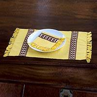 Cotton placemats and napkins, 'Maya Sun' (set for 4) - Collectible Cotton Placemats and Napkins (Set of 4)