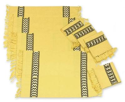 Cotton placemats and napkins, 'Maya Sun' (set for 4) - Collectible Cotton Placemats and Napkins (Set of 4)