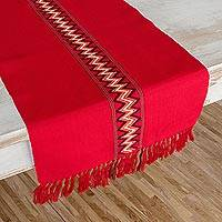 Cotton table runner, 'Scarlet Hills' - Hand Loomed Red Cotton Table Runner