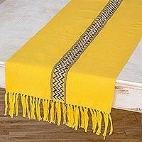 Cotton table runner, 'Maya Sun' - Artisan Crafted Cotton Runner Table Linen