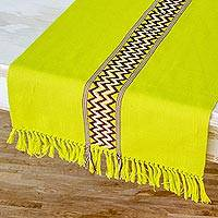 Cotton table runner, 'Lime Tree' - Collectible Cotton Runner Table Linen