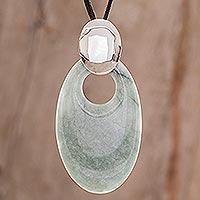 Jade pendant necklace, 'Solola Meadow' - Handmade Sterling Silver and Jade Pendant Necklace