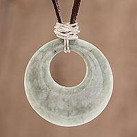 Jade pendant necklace, 'Maya Memory' - Hand Made Jade and Sterling Silver Pendant Necklace