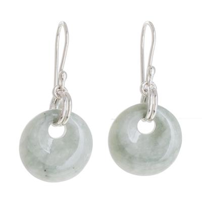 Jade dangle earrings, 'Maya Memory' - Unique Sterling Silver Dangle Jade Earrings