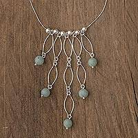 Jade waterfall necklace, 'Maya Empress'