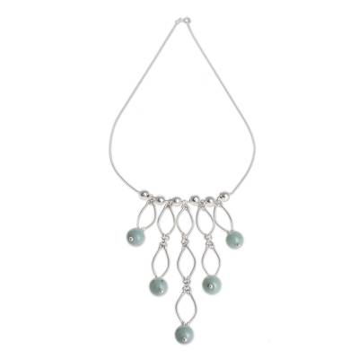 Jade waterfall necklace, 'Maya Empress' - Central American Sterling Silver Waterfall Jade Necklace