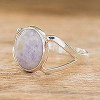 Jade cocktail ring, 'Mixco Lady' - Artisan Crafted Modern Sterling Silver Jade Ring