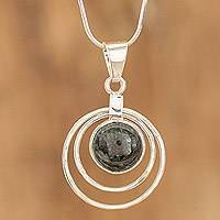 Jade pendant necklace, 'Eternal Cosmos' - Unique Modern Sterling Silver Jade Pendant Necklace