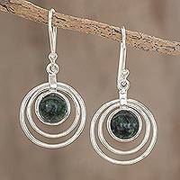Jade dangle earrings, 'Eternal Cosmos' - Handcrafted 925 Sterling Silver and Jade Dangle Earrings