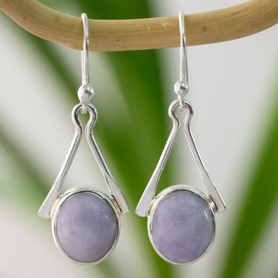 Jade dangle earrings, 'Mixco Lady' - Central American Sterling Silver Jade Dangle Earrings