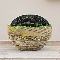 Recycled paper box, 'San Lucas Jade' (medium) - Recycled Paper Decorative Box (Medium)