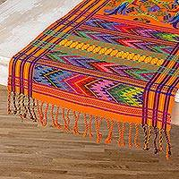 Cotton table runner, 'Sunset Quetzal' - Hand Woven Fair Trade Cotton Table Runner