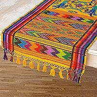 Cotton table runner, 'Yellow Quetzal' - Handwoven Cotton Bird Table Runner