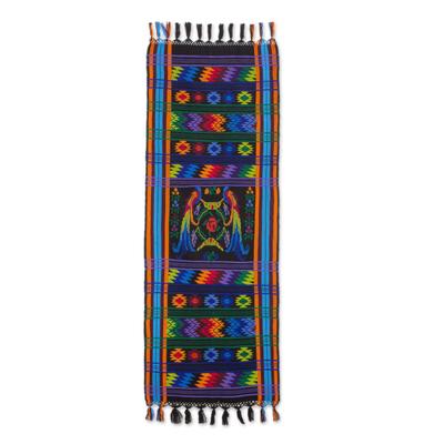 Cotton table runner, 'Ebony Quetzal' - Cotton table runner