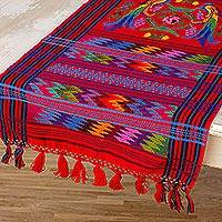 Cotton table runner, 'Ruby Quetzal' - Guatemalan Handwoven Bird Table Runner