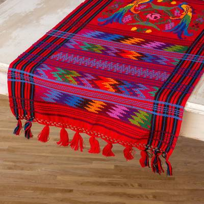 Delicieux Cotton Table Runner, U0027Ruby Quetzalu0027   Guatemalan Handwoven Bird Table Runner