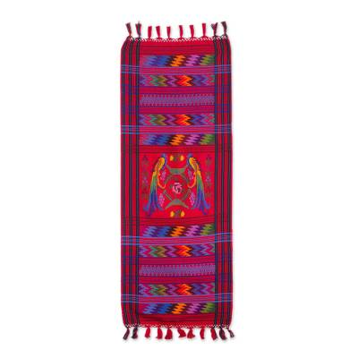 Cotton table runner, 'Ruby Quetzal' - Guatemalan Handwoven Bird Table Runner