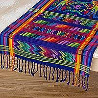 Cotton table runner, 'Blue Quetzal' - Handwoven Table Runner from Guatemala
