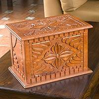 Wood chest, 'Poinsettia Treasure' - Wood chest