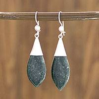 Jade dangle earrings, 'Maya Lance of Life' - Fair Trade Good Luck Sterling Silver Jade Dangle Earrings