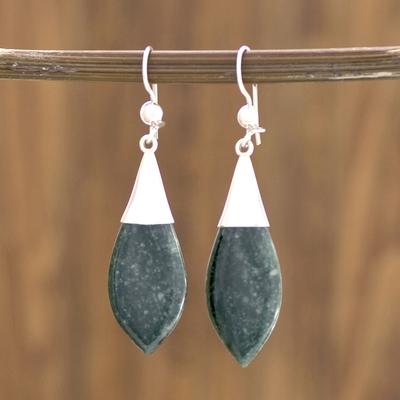 Jade dangle earrings, 'Maya Lance of Life' - Fair Trade Good Luck Sterling Silver Jade Dangle Earrings