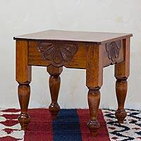 Wood accent table, 'Nahuala Daisy' - Handcrafted Guatemalan Accent Table