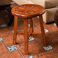 Wood stool, 'Nahuala Sunflower' - Hand Carved Floral Wood Stool