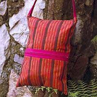 Cotton shoulder bag, 'Maya Sunset' - Cotton shoulder bag