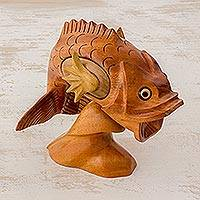 Wood puzzle box, 'Flying Fish' - Wood Sea Life Decorative Puzzle Box