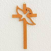 Mahogany wall sculpture, 'Dove of Peace' - Handmade Guatemalan Wood Bird Cross