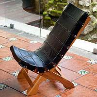 Recycled rubber and cedar chair, 'Eco-Chic' - Recycled rubber and cedar chair