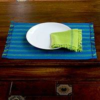 Cotton placemats and napkins, 'Salvador Sky' (set for 2) - Cotton Placemat and Napkin Set for 2