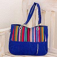 Cotton shoulder bag, 'Panajachel Rainbow' - Cotton shoulder bag