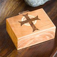 Wood box, 'Christ's Cross' (5.5 inch) - Unique Religious Wood Decorative Box (Large)