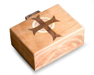 Wood box, 'Christ's Cross' (5.5 inch) - Unique Religious Wood Decorative Box (Large)