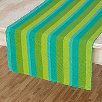 Cotton table runner, 'Guatemala Spring' - Hand Crafted Modern Cotton Table Runner