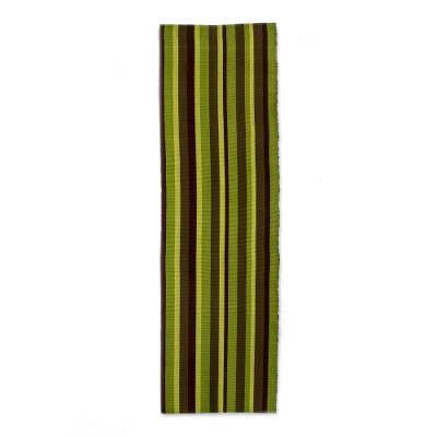 Cotton table runner, 'Guatemala Summer' - Green Hand Woven Cotton Table Runner