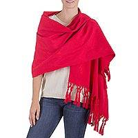 Wool blend shawl, 'Red Islands' - Fair Trade Wool-Blend Wrap from Guatemala