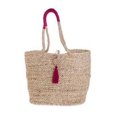 Maguey shoulder bag, 'San Cristobal Celebration' - Maguey shoulder bag