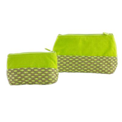 Pair of Cotton Floral Cosmetic Bags