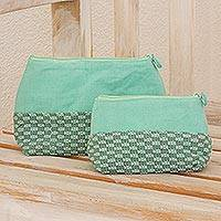 Cotton cosmetic bags, 'Spring Blooms' (pair) - Fair Trade Cotton Cosmetic Bags (Set of 2)