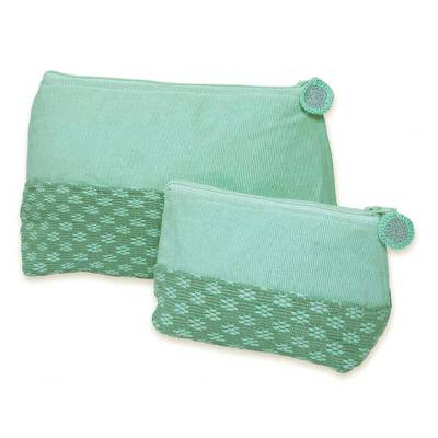 Cotton cosmetic bags, 'Spring Blooms' (pair) - Fair Trade Floral Cosmetic Bags (Pair)