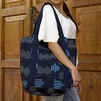 Cotton tote shoulder bag, 'Midnight Maya' - Handcrafted Guatemalan Cotton Tote Bag