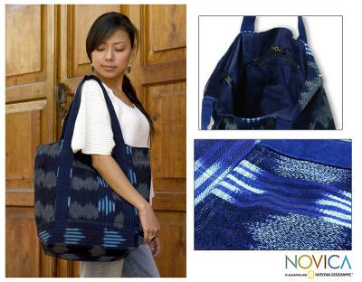 Cotton tote shoulder bag, 'Midnight Maya' - Hand Made Central American Cotton Tote Handbag