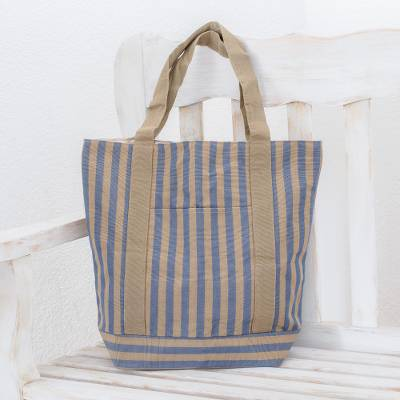 Cotton tote shoulder bag, Comalapa Parallels