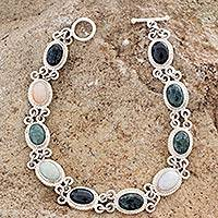 Jade and yellow quartz link bracelet, 'Jocotenango Rainbow' - Sterling Silver and Jade Bracelet