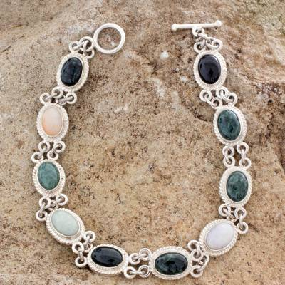 Jade and yellow quartz link bracelet, Jocotenango Rainbow