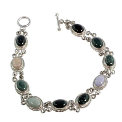Jade and yellow quartz link bracelet, 'Jocotenango Rainbow' - Handcrafted Sterling Silver Link Jade Bracelet