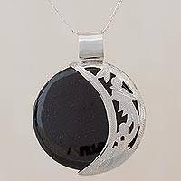 Jade pendant necklace, 'Quetzal Eclipse' - Jade and Sterling Silver Sun and Moon Necklace