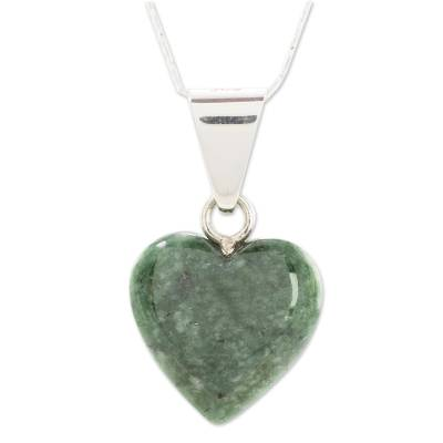 Jade heart necklace, 'Love Immemorial' - Artisan Crafted Heart Shaped Jade Pendant Necklace